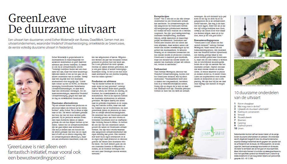 Bureau DaadWerk - GreenLeave duurzame uitvaart To Be Vredehof