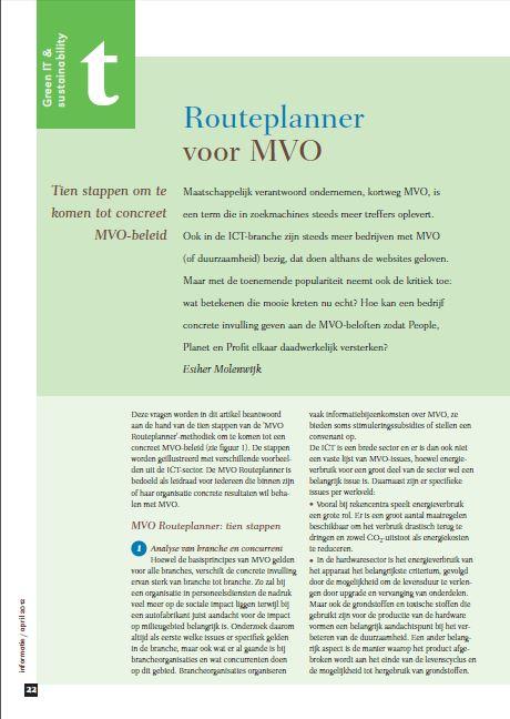 Bureau DaadWerk - Informatie - MVO Routeplanner